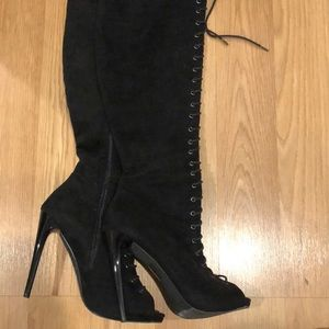 Thigh high over the knee lace up boots